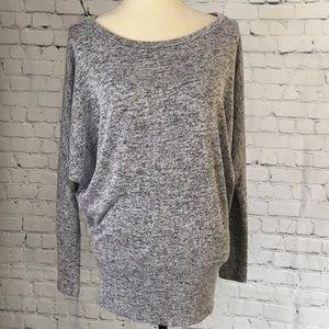 Heather Gray Dolman Sleeve Boat Neck Sweater